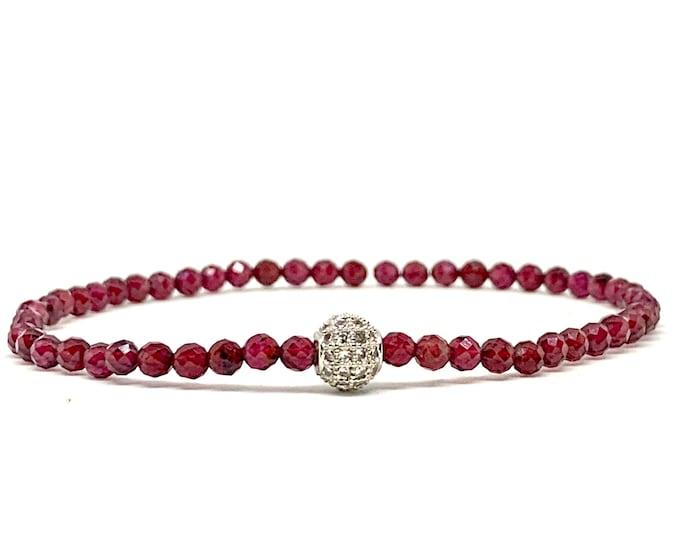 Dainty Garnet Beaded Bracelet