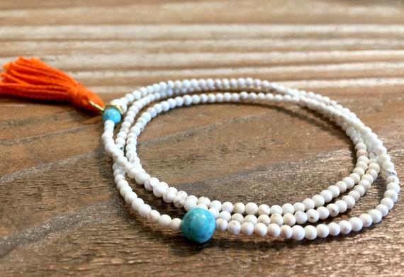 Howlite Beaded w/Turquoise accent Bracelet- Mala Bracelet with Tassel- Howlite Stone Bracelet-Triple Wrap Stone Bracelet- Girlfriend Gift