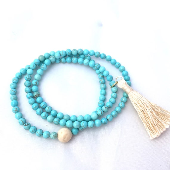 Turquoise Gemstone Bracelet-4mm Wrap Turquoise Beaded Bracelet- Mala Bracelet with Tassel- Stack Turquoise Bracelet- Friendship Gift for her