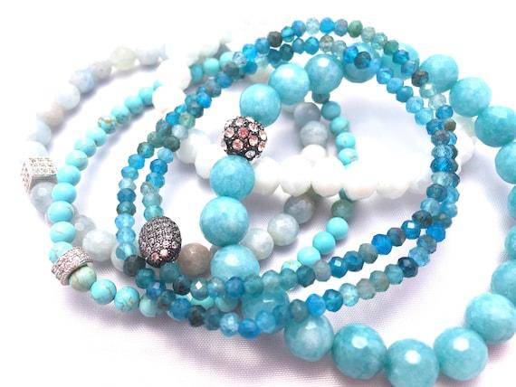 Sea Scape Gemstone Bracelet Stack- Faceted Apatite- Turquoise Bracelet- Aquamarine Bracelet- Jade Beaded Bracelet- Manifestation & Grounding