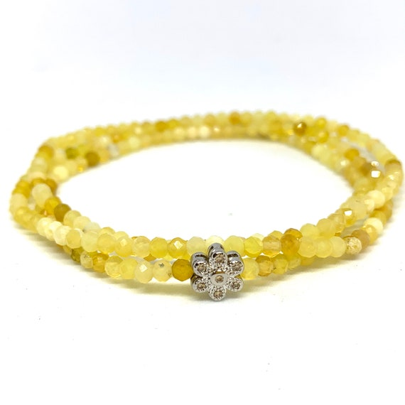 Yellow Opal Beaded Bracelet - Triple Wrap Yellow Beaded Bracelet - Amplifies Positive Emotions and Prosperity - Gift for Her-Girlfriend Gift