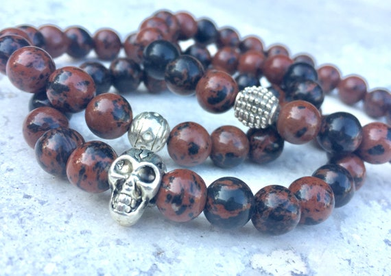Mahogany Obsidian Bracelet- Unisex Skull Bracelet- Mens Obsidian Bracelet- Grounding Beaded Bracelet- Gemstone Bracelet for Strength
