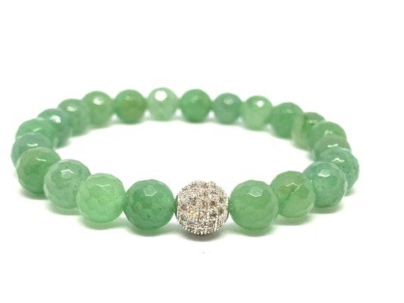 Green Aventurine Slip on Beaded Bracelet- Aventurine Gemstone Bracelet- Green Faceted Stone Bracelet- Prosperity Bracelet- Graduation Gift