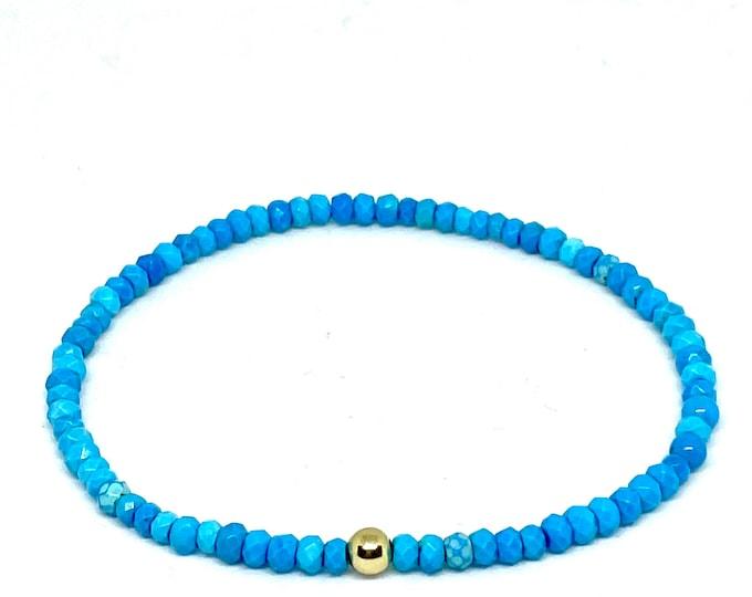 Turquoise Gemstone Bracelet -3x4mm Rondel - Beaded Dainty Bracelet with Gold Beaded  Accent - Stack Turquoise Bracelet-Friendship Gift