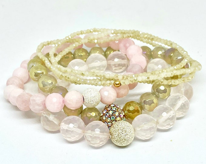 Rose Quartz Gemstone Four Bracelet Stack - Love Stone