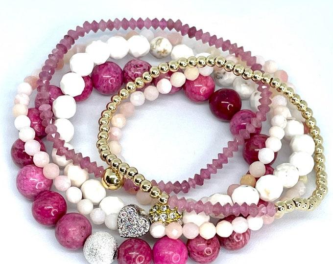 Pink Beaded Gemstone Stack Bracelets