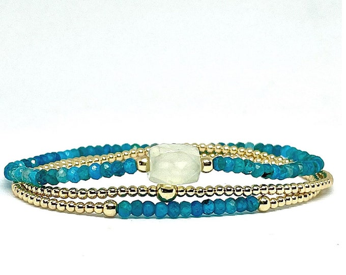 Dainty Gemstone 3 Bracelet Stack - Gorgeous 2x3mm faceted Apatite with clear Quartz Accent - 14k Gold Filled Beaded Bracelets with Apatite