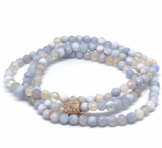 Light Blue Agate Triple Wrap Bracelet- 4mm Blue Agate Bracelet- Blue Beaded Bracelet- Graduation - All Ages Girl Gift- Bridal Shower Gift