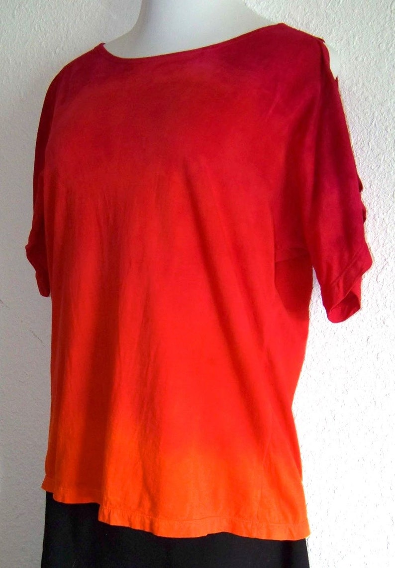 hand dyed READY TO SHIP Ombre Split Sleeve Tee Size Medium