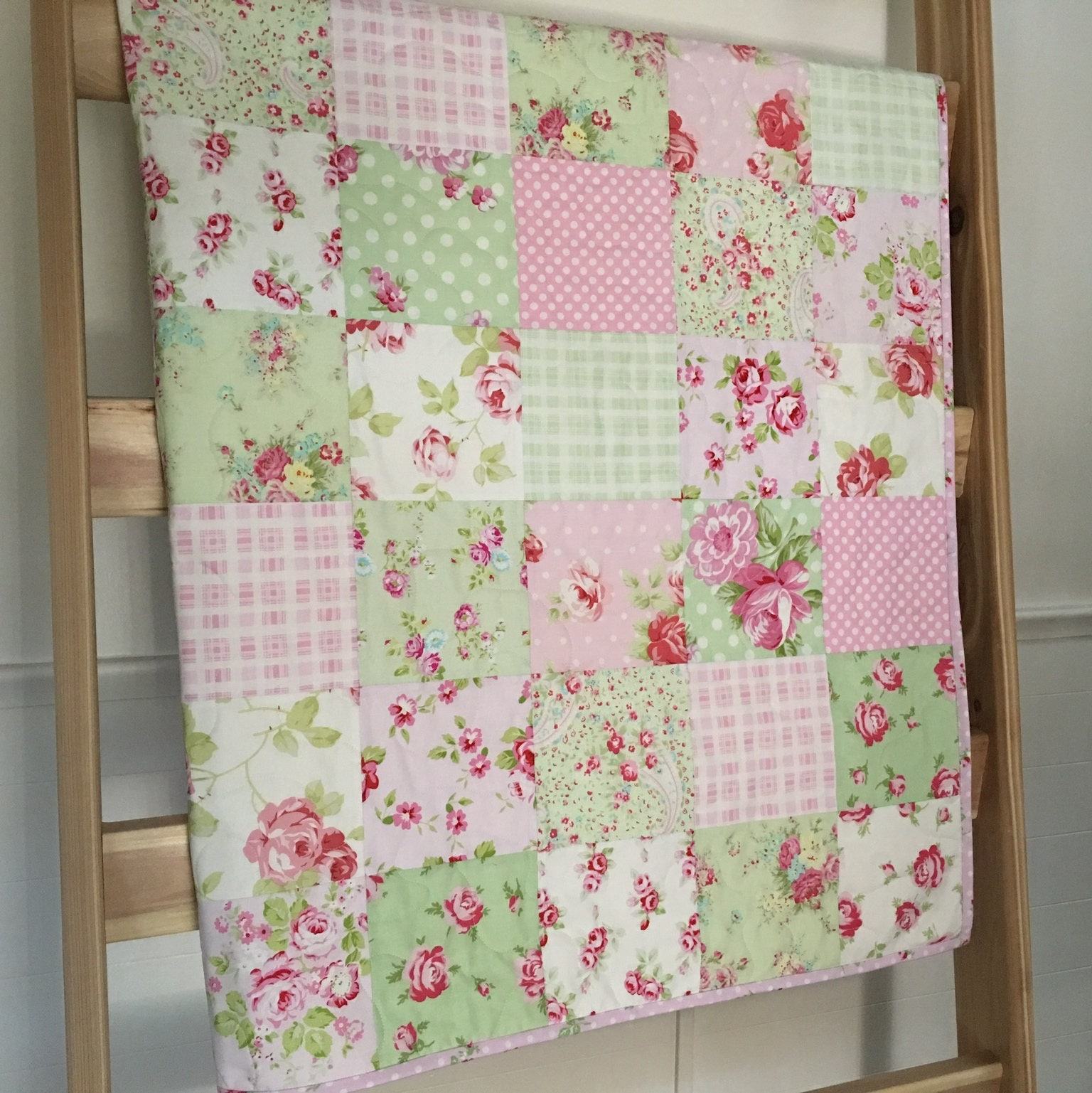 Roses Baby Quilt Pink-green-white Floral Crib Bedding Baby