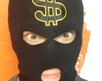 Beanie mask Ski Mask Show me the MONEY! Full face beanie Ski mask with  vintage dollar sigh patch Love money Love Vintage Love this 7310f3f7f