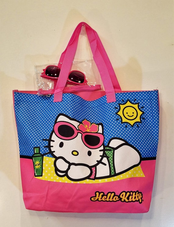 5988ec833ac Tote Beach Bag 90s Graphic Printed Bag with Pink Sunglasses   Etsy