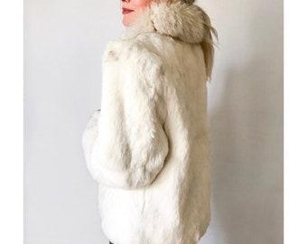 Wilson's Suede & Leather Rabbit Fur Coat