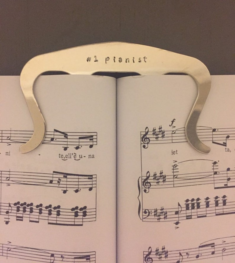Silver Personalized Music Page Holder Book Clip Piano Music image 0