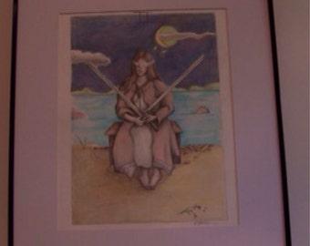 Tarot Card Illustration 2 Color Pencil Drawing