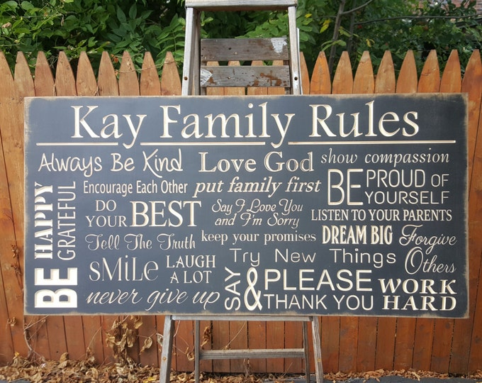 """Personalized Custom Carved Wooden Sign - """" Family House Rules ..."""" - 16""""x32"""""""