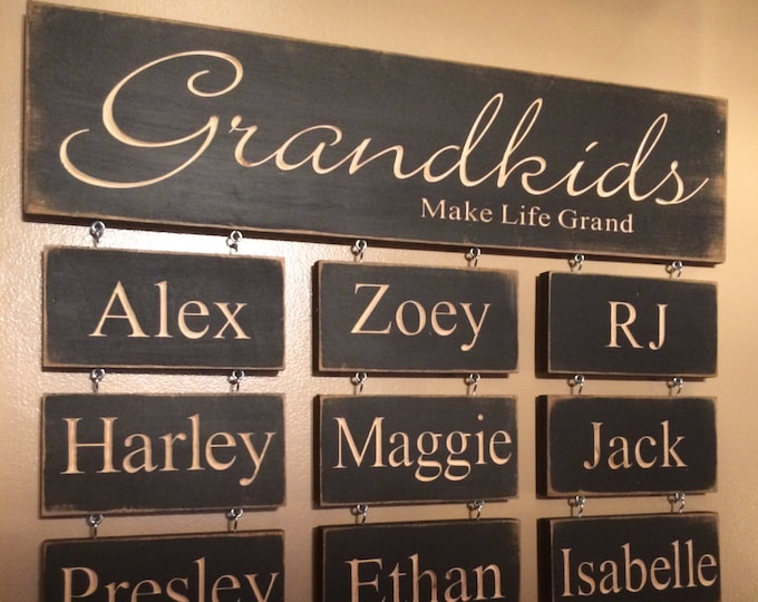 Grandkids Make Life Grand - Personalized Carved Wooden Sign