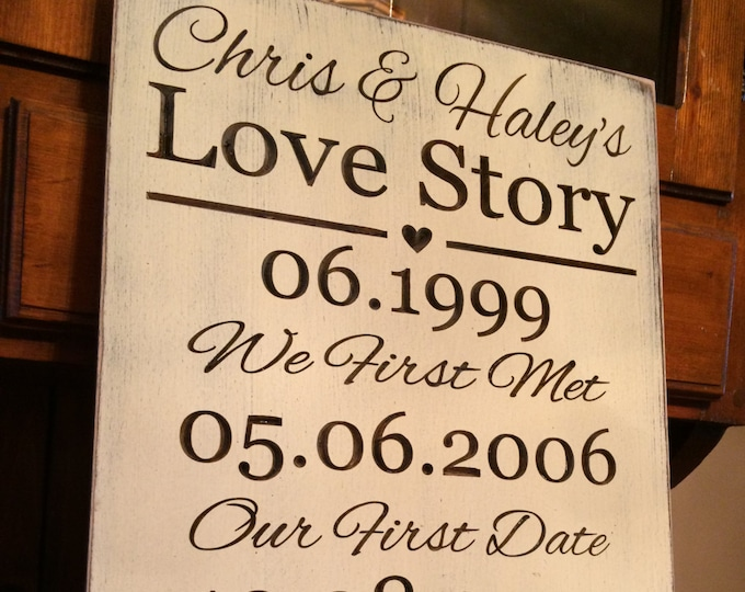 """Personalized Carved Wooden Sign - """"Our Love Story"""" -  Wedding"""