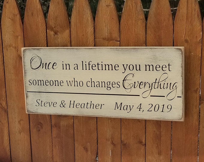 """Personalized Carved Wooden Sign - """"Once In A Lifetime You Meet Someone Who Changes Everything"""" - 10x24, Wedding, Love"""