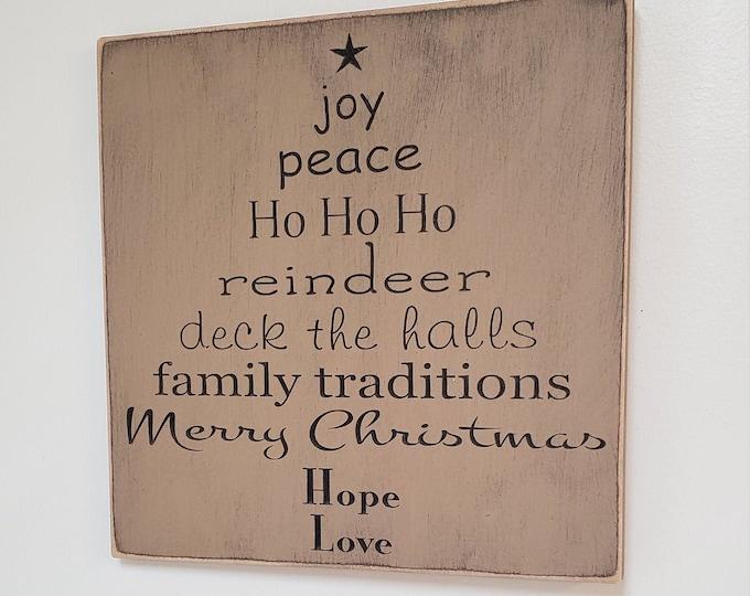 """Custom Carved Wooden Sign - """"Joy, Peace, HoHoHo ... Tree"""""""
