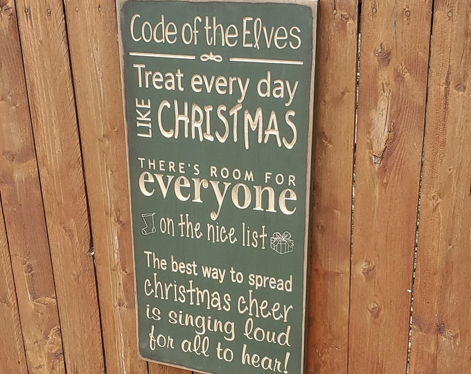 """Custom Carved Wooden Sign - """"Code Of The Elves"""""""