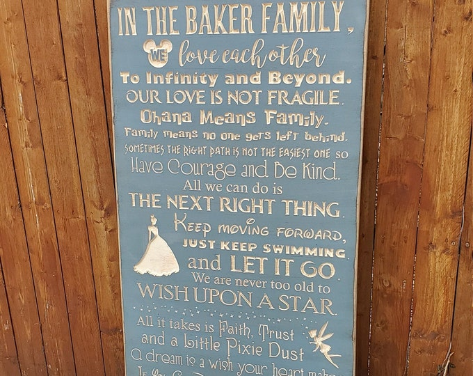 """Personalized Custom Carved Wooden Sign - """"In This Family, We do Happily Ever After""""  - 24x48"""