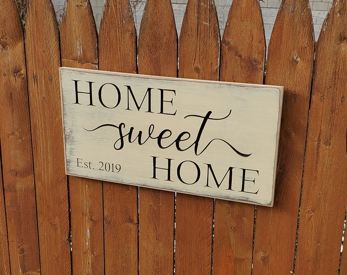 """Personalized Custom Carved Wooden Sign - """"Home Sweet Home"""" Est"""