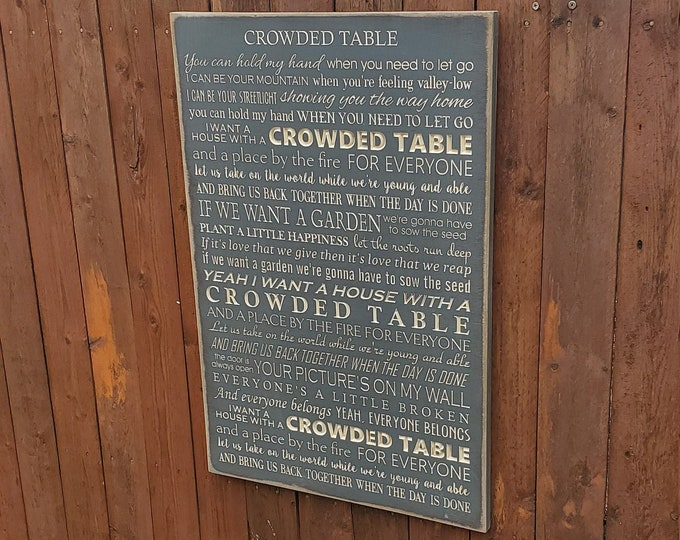 """Custom Carved Wooden Sign - """"You can hold my hand when you need to let go .. """" - The Highwoman """"Crowded Table"""" song lyrics"""