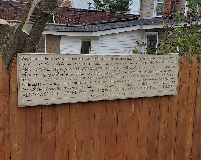 """Custom Carved Wooden Sign - """"Way beyond the stars was a dream there waiting for a dreamer to dream her"""" A Great Big World """"You"""" song lyrics"""