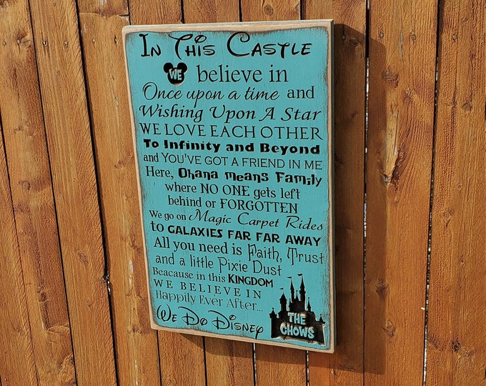 """Personalized Carved Wooden Sign - """"In this Castle ... Disney Family"""" with personalized Castle"""