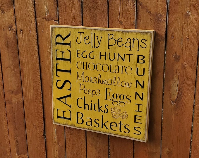 """Custom Carved Wooden Sign - """"Easter, Jelly Beans, Egg Hunt, Chocolate, Bunnies ... """""""