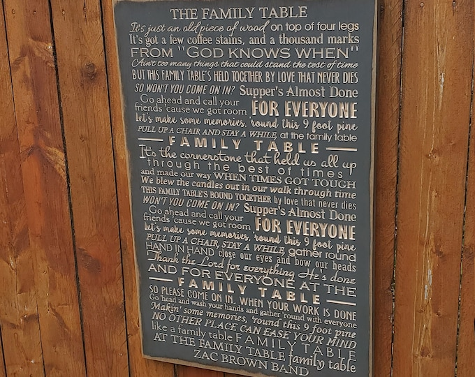 """Custom Carved Wooden Sign - """"It's just an old piece of wood on top of four legs ... Family Table"""" - Zac Brown Band FAMILY TABLE song lyrics"""