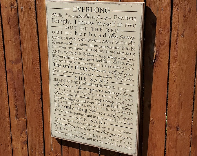 """Custom Carved Wooden Sign - """"Hello, I've waited here for you Everlong"""" - Foo Fighters, """"EVERLONG"""", song lyrics"""