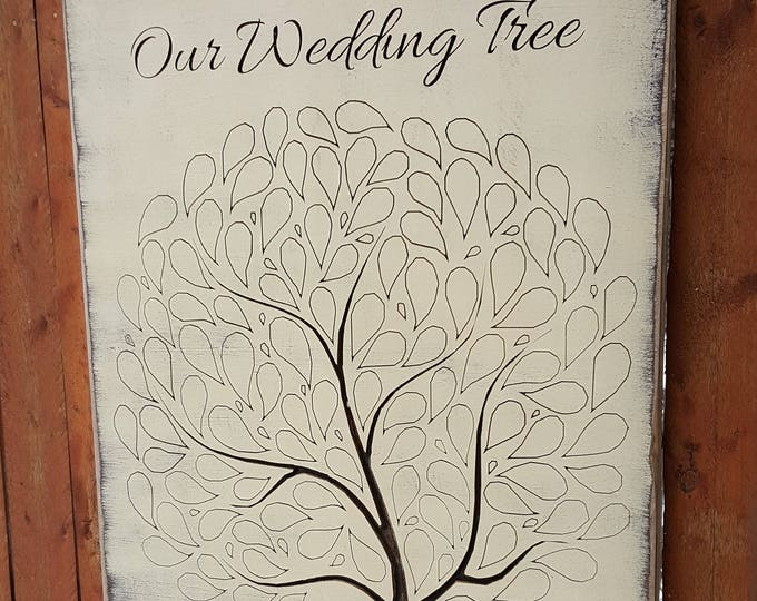 """Personalized Custom Carved Wooden Sign - """"Our Wedding Tree - Wedding/Reception Guest Book"""""""