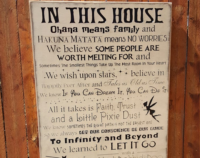 """Custom Carved Wooden Sign - """"In This House, We do DISNEY - We Will Never Grow Up"""" - 24x48"""