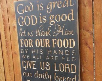 """Custom Carved Wooden Sign - """"God is Great, God is Good, Let Us Thank Him for Our Food ... AMEN"""""""