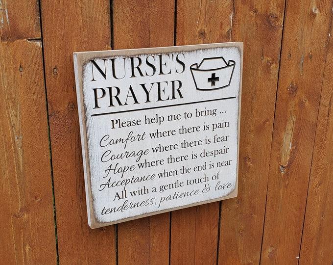 "Custom Carved Wooden Sign - ""Nurse's Prayer"" - Comfort, Courage, Hope, Acceptance, Tenderness"