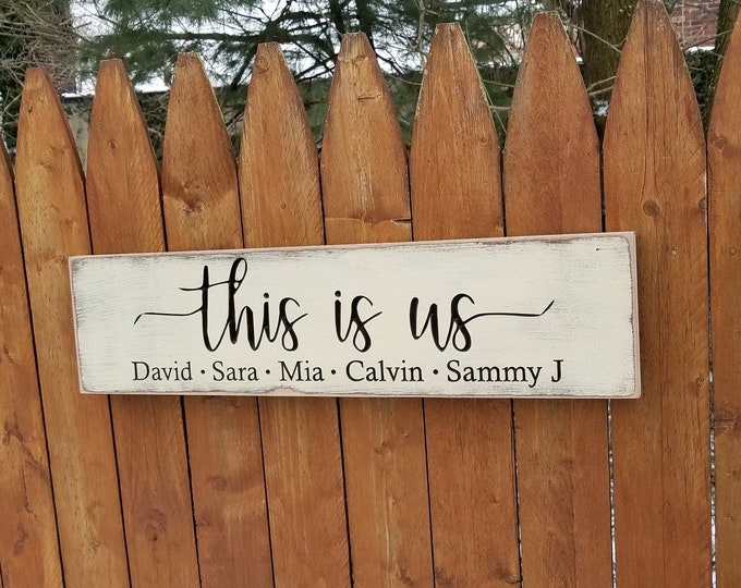 """Personalized Carved Wooden Sign - """"This Is Us"""""""