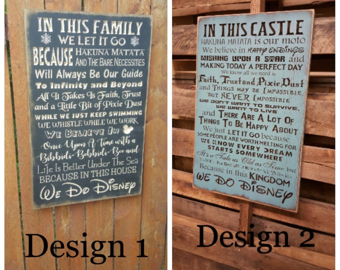 """Custom Carved Wooden Sign - """"WE DO DISNEY - In This Castle, In This House, We Believe In Happy Endings And Wishing Upon A Star .."""" - 20""""x13"""""""