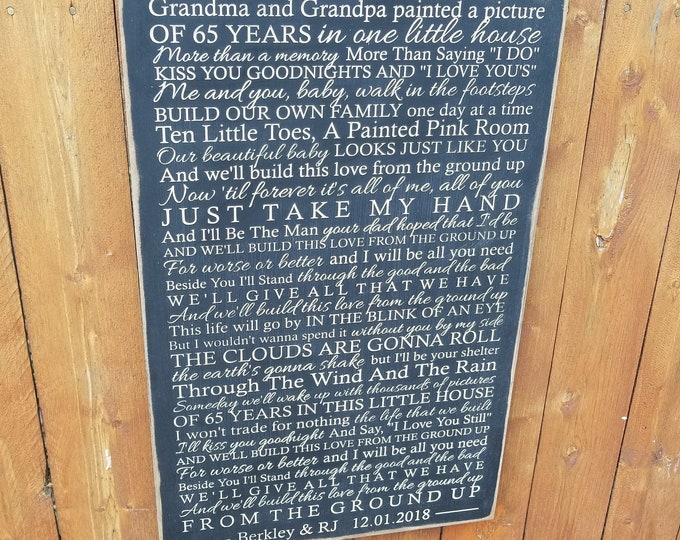 """Personalized Carved Wooden Sign """"Grandma & Grandpa Painted A Picture of 65 Years In One Little House"""" Dan + Shay """"From The Ground Up"""" lyrics"""