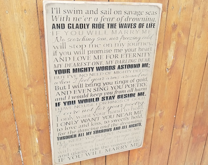 """Custom Carved Wooden Sign - """"I'll Swim And Sail On Savage Seas..."""" - How To Train Your Dragon 2 """"For The Dancing And The Dreaming"""" lyrics"""