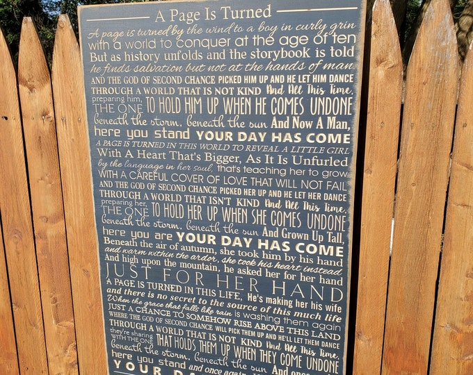 """Custom Carved Wooden Sign - """"A page is turned by the wind ..."""" A Page Is Turned - Bebo Norman - song lyrics"""