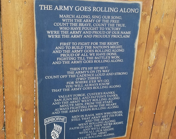 """Custom Carved Wooden Sign - """"The Army Goes Rolling Along"""""""
