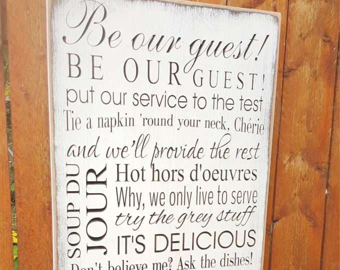 """Custom Carved Wooden Sign - """"Be Our Guest, Disney, Beauty and the Beast"""""""