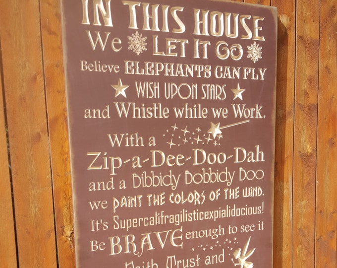 """Custom Carved Wooden Sign - """"In This House, We do DISNEY - with Castle & Fireworks"""" - 24x48"""