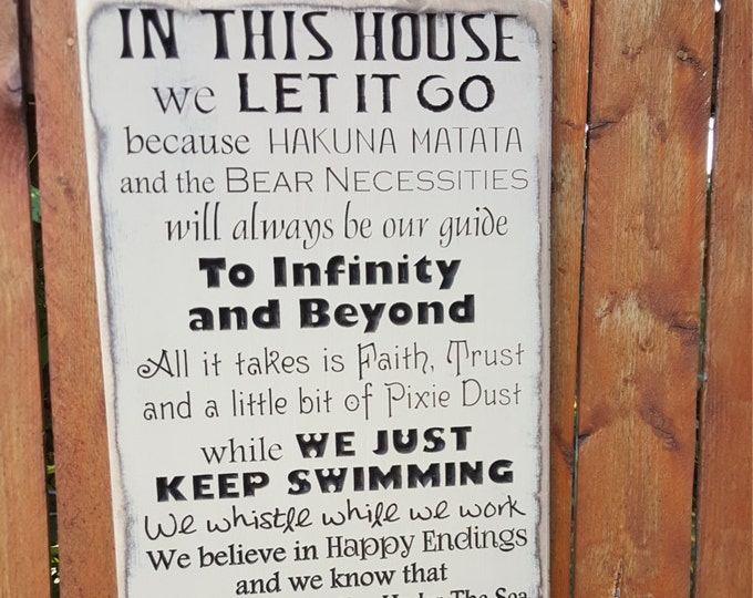 """Custom Carved Wooden Sign - """"In this House - WE DO DISNEY"""" - 12x24"""