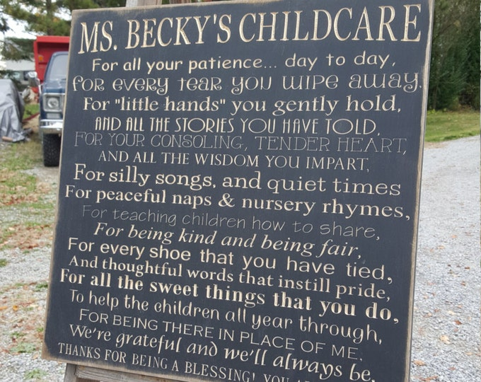 """Personalized Custom Carved Wooden Sign - """"Daycare/Childcare"""""""