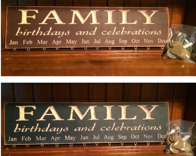 """Custom Carved Wooden Sign - """"Family Birthdays and Celebrations - BIRTHDAY BOARD"""" - 24""""x6"""""""
