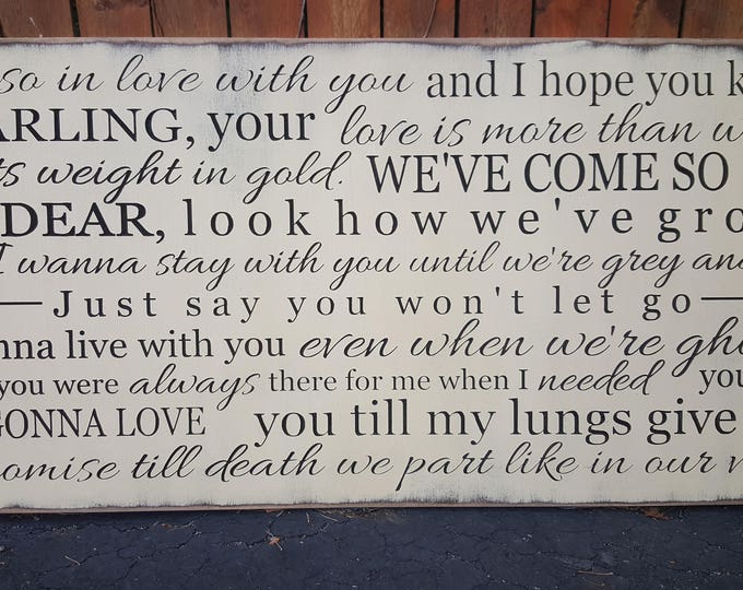 """Custom Carved Wooden Sign - """"I'm So In Love With You and I Hope You Know Darling ..."""" James Arthur, Say You Won't Let Go - 24x48"""
