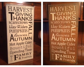 """Custom Carved Wooden SIgn - """"Harvest, Give Thanks, Scarecrows ..."""""""